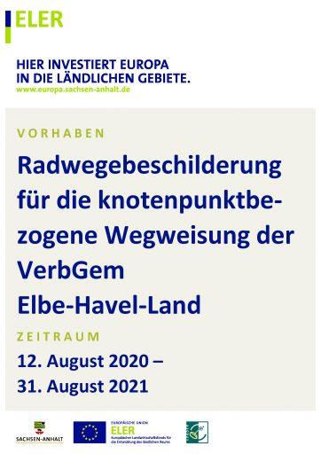 Radwegebeschilderung für die knotenpunktbezogene Wegweisund der VerbGem Elbe-Havel-Land im Elb-Havel-Winkel